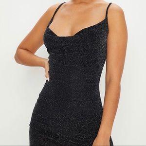 Black Textured Glitter Cowl Neck Bodycon Dress